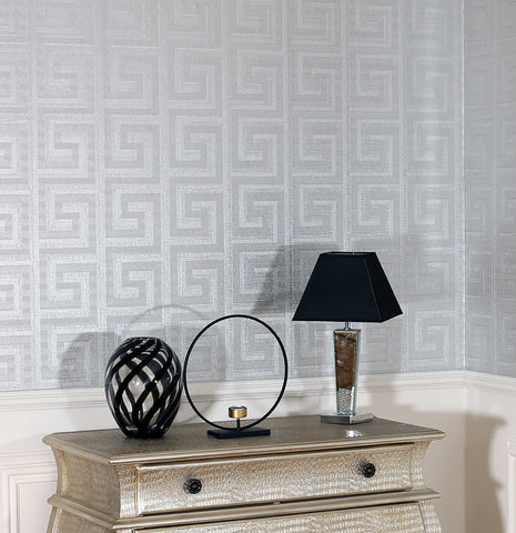 Greek Key Foil Silver | Arthouse Wallpaper | 298102