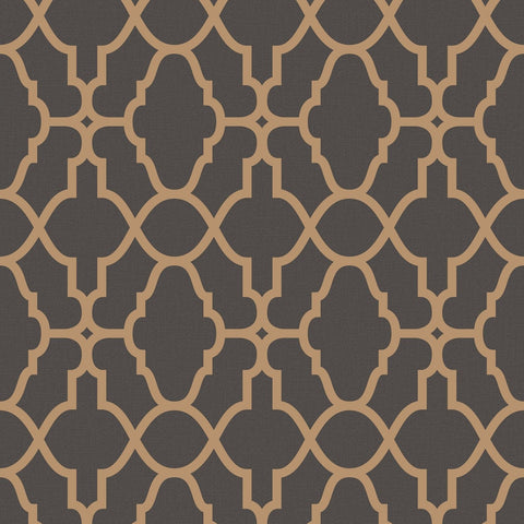 Rasch Wallpaper | Casablanca Trellis Charcoal/Copper | 309331