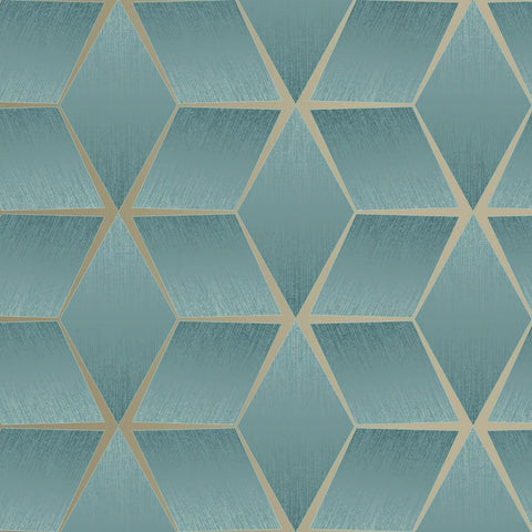 3D Texture Geo Teal | Rasch Wallpaper 310634