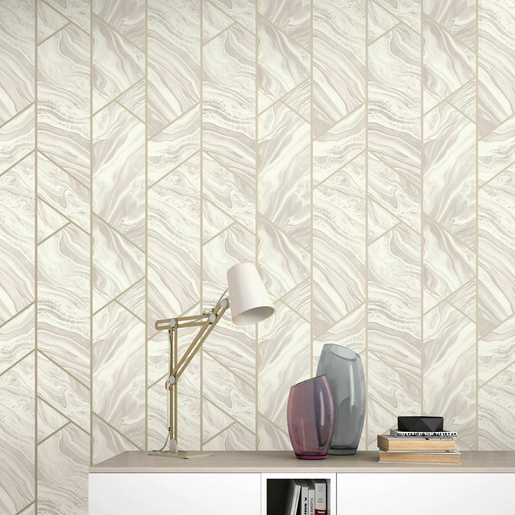 Marble Geo Blush Pink | Rasch Wallpaper 310917