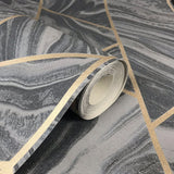 Marble Geo Charcoal | Rasch Wallpaper 310955