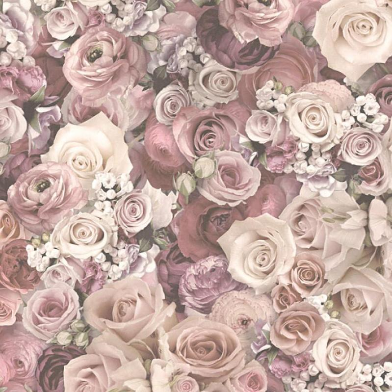 As Creations Wallpaper Urban Flowers Rose Floral Dusky Pink