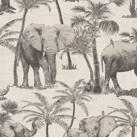 Safari Elephant Charcoal Wallpaper | Arthouse 296700 | Tropical Wallpaper