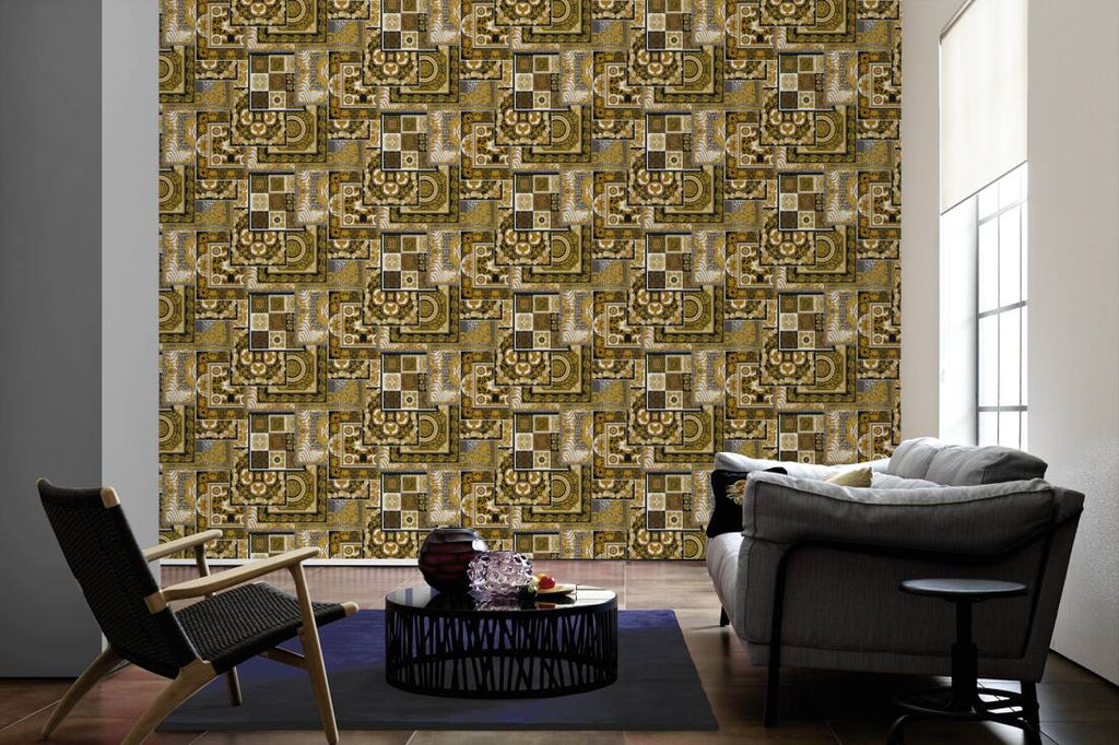 Versace Wallpaper Collection Oriental Tile Black Gold 37048 3 Wonderwall By Nobletts