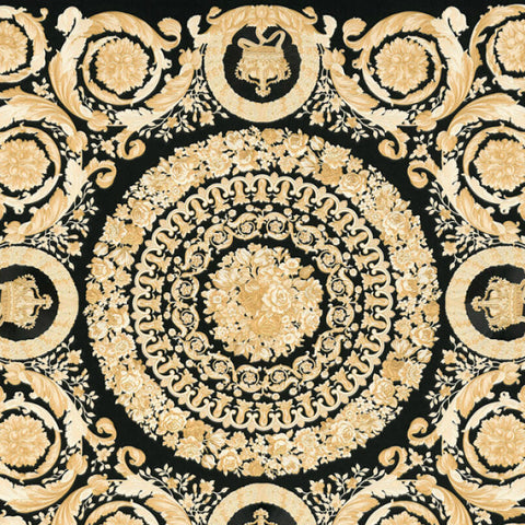 Versace Wallpaper Collection | Heritage Tile Black/Gold | 37055-3