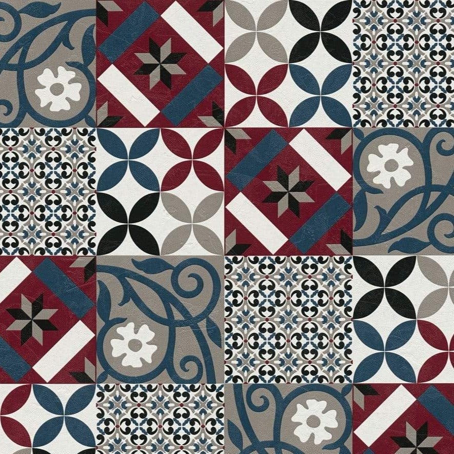 New Life Tile Navy/Red | AS Creation Wallpaper | 37684-4