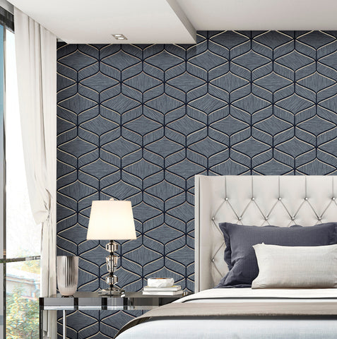 Belgravia Decor Wallpaper | Luciano Geo Navy | GB3852