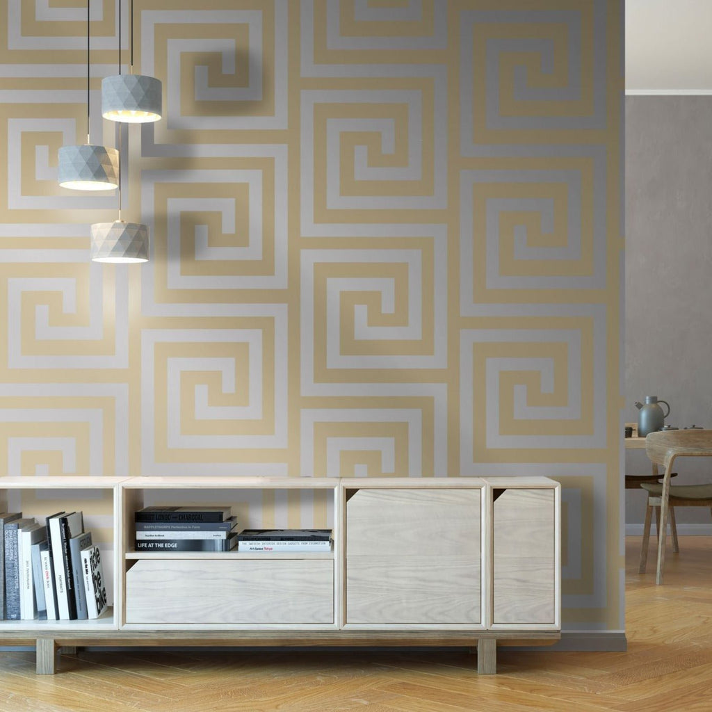 Athena Champagne/Silver Wallpaper | Debona 4013 | Greek Key
