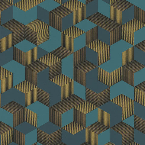 Rasch Wallpaper | Denzo Cube Teal | 403909