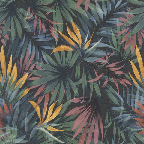 Eden Tropical Palm Green/Multi Wallpaper | Rasch 465228 | Tropical Wallpaper Designs