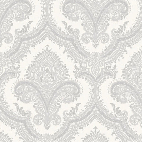Sassari Damask White/Silver Wallpaper | Rasch 519921 | Vinyl Wallpaper
