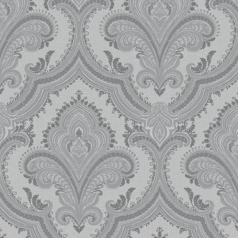 Sassari Damask Grey/Silver Wallpaper | Rasch 520316 | Metallic