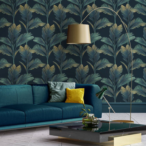 Kailani Green/Charcoal | Belgravia Wallpaper | 59115