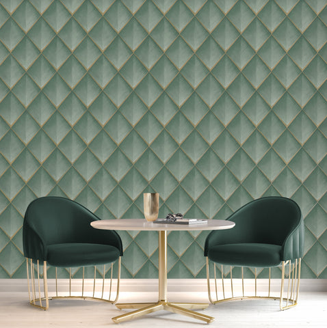 Belgravia Vinyl Wallpaper | Callisto Teal Green | GB6001