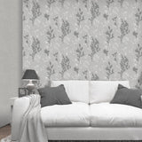 Organica Fern Silver/Grey Wallpaper | Belgravia Decor GB6090