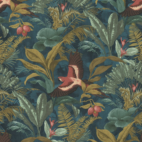 Eden Tropical Bird Teal/Multi Wallpaper | Rasch Eden 639216