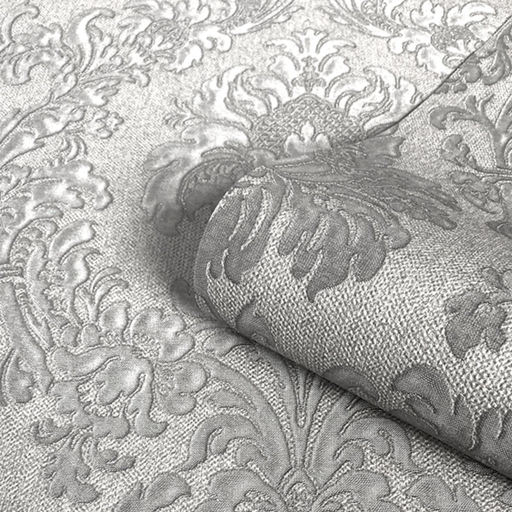 Belgravia Decor Wallpaper | San Remo Damask Smoke Grey | GB6522