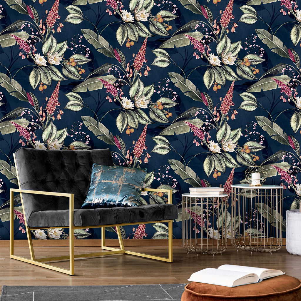 Paradise Garden Navy Blue Wallpaper | Belgravia 6600