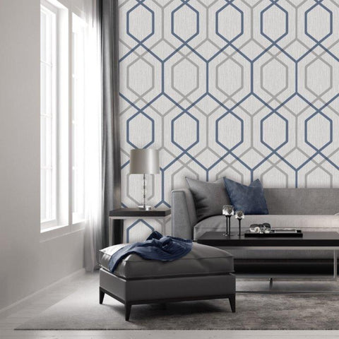 Oria Hex Navy/Grey | Belgravia Decor Wallpaper | 6733