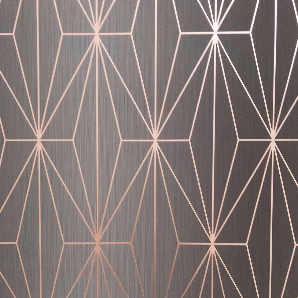 Muriva Couture Wallpaper Kayla Charcoal Rose Gold 703015