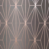 Muriva Couture Wallpaper | Kayla Charcoal/Rose Gold | 703015