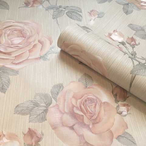 Amara Rose Soft Pink Wallpaper | Belgravia Decor GB7364
