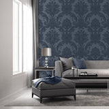 Amara Damask Navy | Belgravia Wallpaper | GB7371