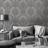Amara Damask Gunmetal | Belgravia Wallpaper | GB7372