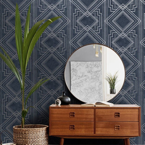 Delano Navy/Silver | Holden Decor Wallpaper | 75942