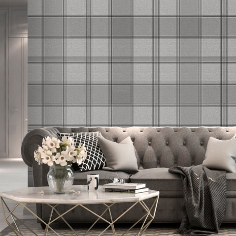 Belgravia Luxury Wallpaper | Giorgio Check Silver Grey | GB8101
