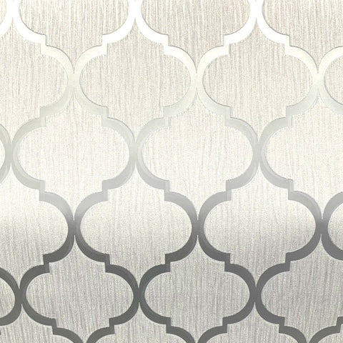 Debona Wallpaper | Crystal Trellis White/Silver | 8896