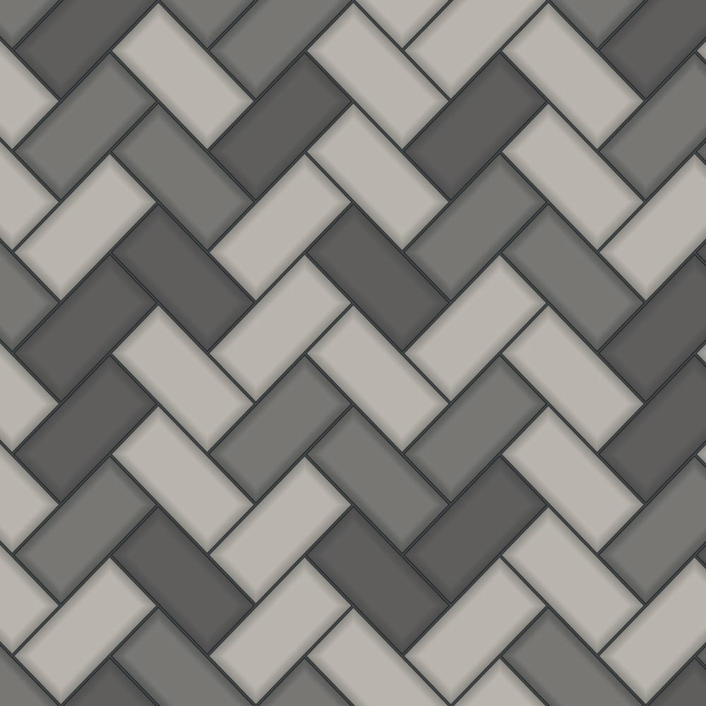 Holden kitchen bathroom wallpaper chevron tile charcoal 89302