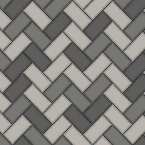 Holden Kitchen/Bathroom Wallpaper | Chevron Tile Charcoal | 89302