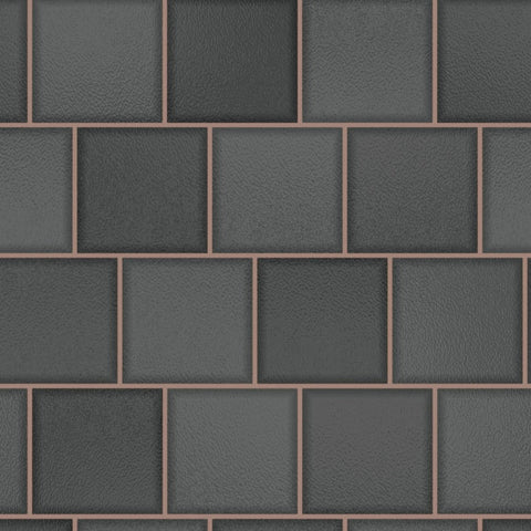 Glass Tile Charcoal/Rose Gold | Holden Tile Wallpaper | 89353