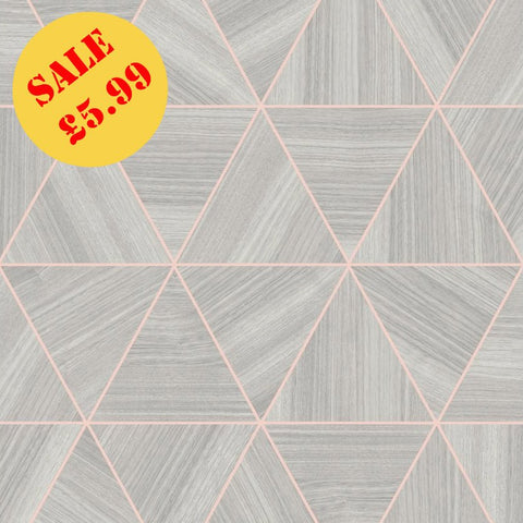 SALE Arthouse Wallpaper | Veneer Triangle Grey/Rose Gold | 901703