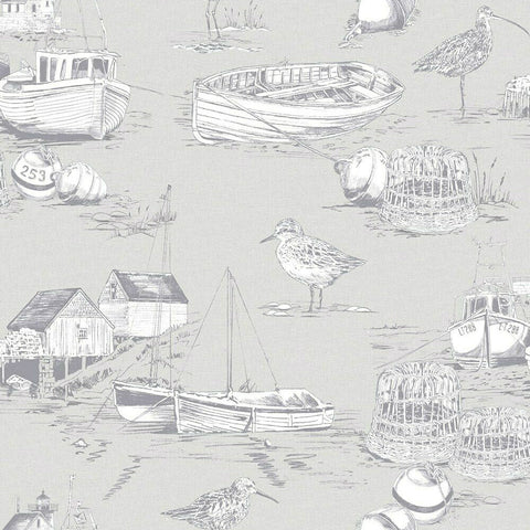 Arthouse Wallpaper | Curlew Bay Grey | 905004