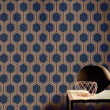 Arthouse Wallpaper | Luxe Hexagon Navy & Gold | 906604