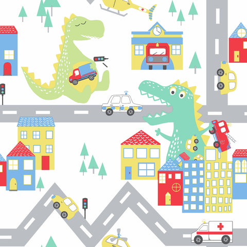 Kids Holden Wallpaper | Dino Road White/Multi | 90910