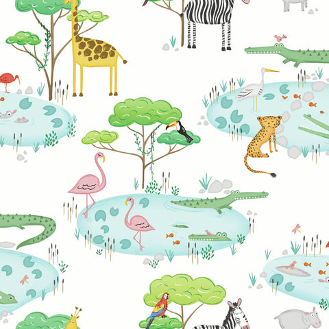 Kids Holden Wallpaper | Crocodile Lake White/Multi | 90930