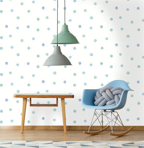 Watercolour Polka Dot Blue | Holden Kids Wallpaper | 91001
