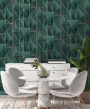 Charon Green/Gold Wallpaper | Holden 91141 | Geometric Wallpaper