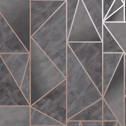 Charon Charcoal/Rose Gold Wallpaper | Holden 91142 | Geometric Wallpaper