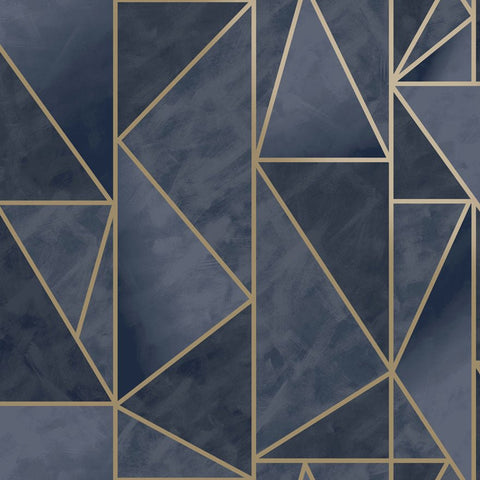 Charon Navy/Gold Wallpaper | Holden 91143 | Geometric Wallpaper