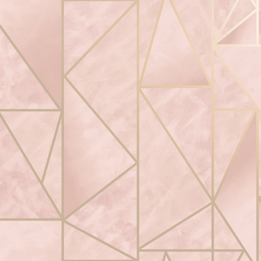 Charon Pink/Gold Wallpaper | Holden 91144 | Geometric Wallpaper