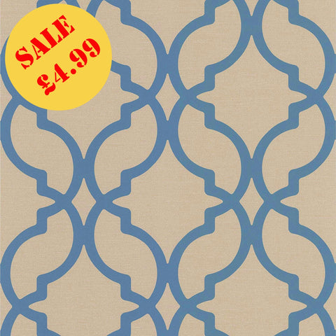 SALE DecorLine Wallpaper | Harira Moroccan Trellis Blue | DL30617