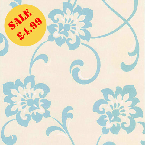 SALE Fine Decor Wallpaper | Jacobean Floral Ivory | DL30650