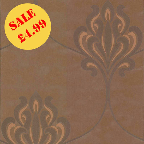 SALE Fine Decor Wallpaper | Jacobean Floral Chocolate | DL30643