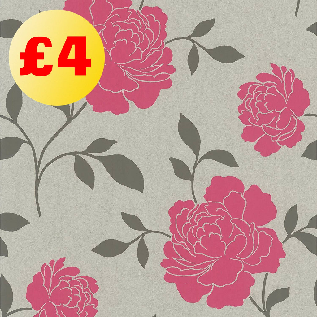March Wallpaper Clearance | Bloom Pewter/Pink | FD66924