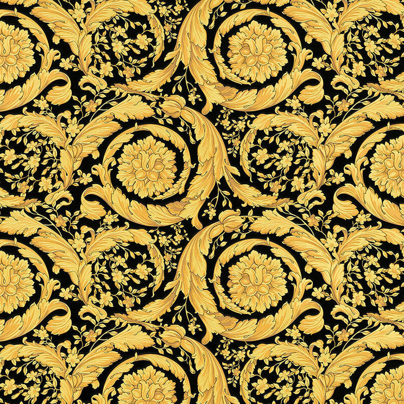 Versace Wallpaper Collection Baroque Scroll Black Gold 93583 4 Wonderwall By Nobletts