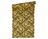 Versace Wallpaper Collection | Baroque Scroll Black/Gold | 93583-4